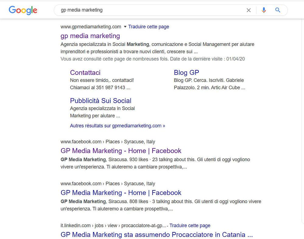 ricerca organica su google