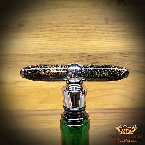 GREEN PINE CONE WINE STOPPER/ CORKSCREW