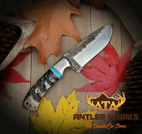 Ram's horn handle hunting knife - 440C
