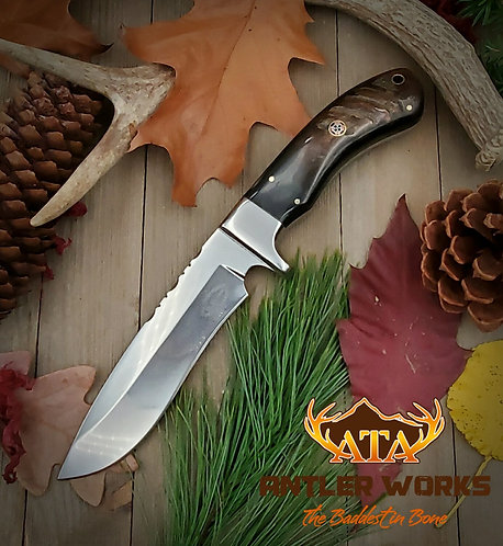Ram's horn handle hunting knife - 1095 HC