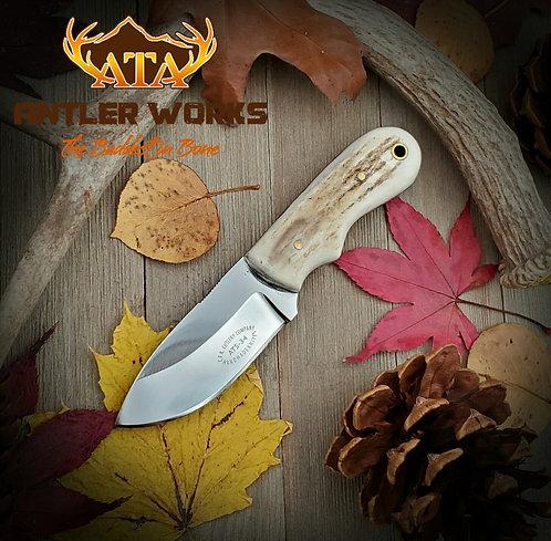 Elk antler handled hunting knife ATS-34