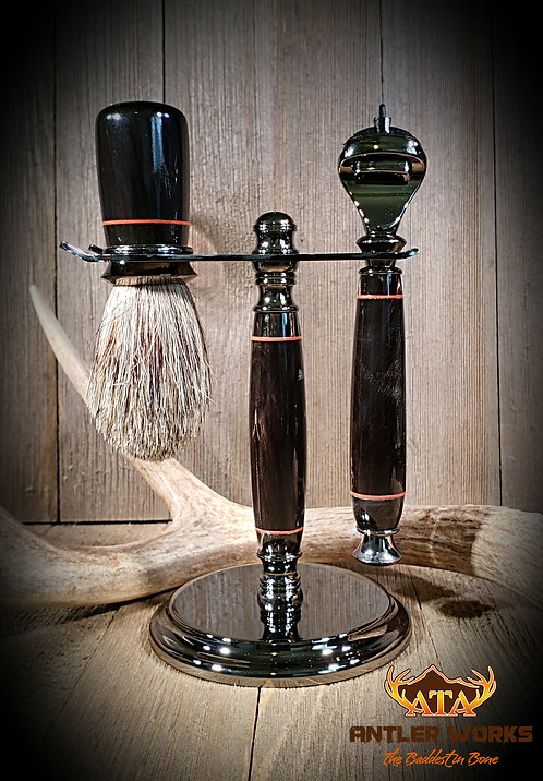 BUFFALO HORN SHAVING SET/ RED SPACERS