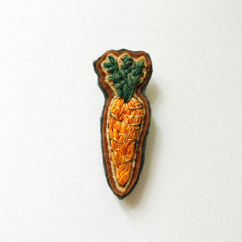 Carrot Brooch No1 - Hand embroidered brooch with a pin