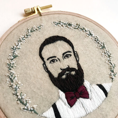 Custom Embroidered portrait for Cindy