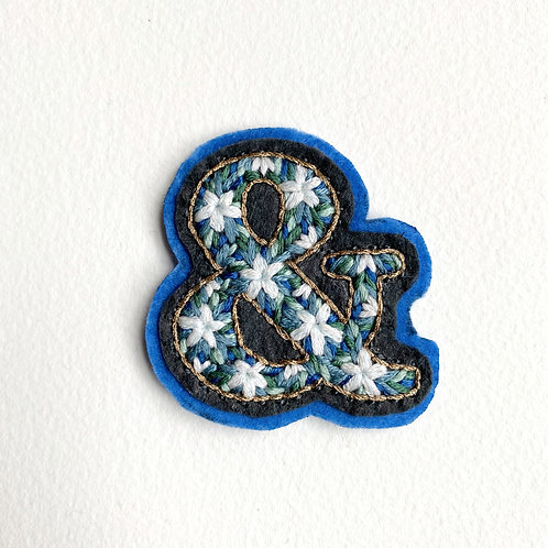 Blue floral ampersand hand embroidered patch