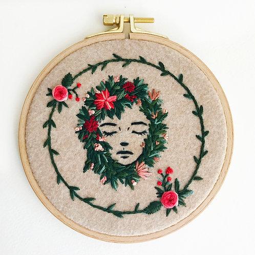 Reserved for Sarah - Floral Portrait hoop