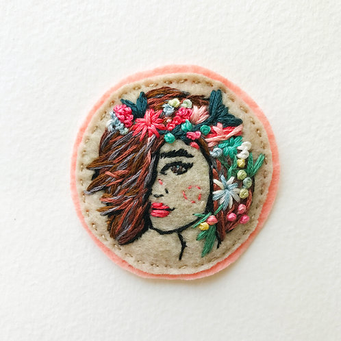 Botanical Girl Patch No 2 - Hand embroidered patch
