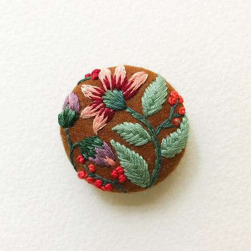 Floral button No 2 - Hand embroidered button