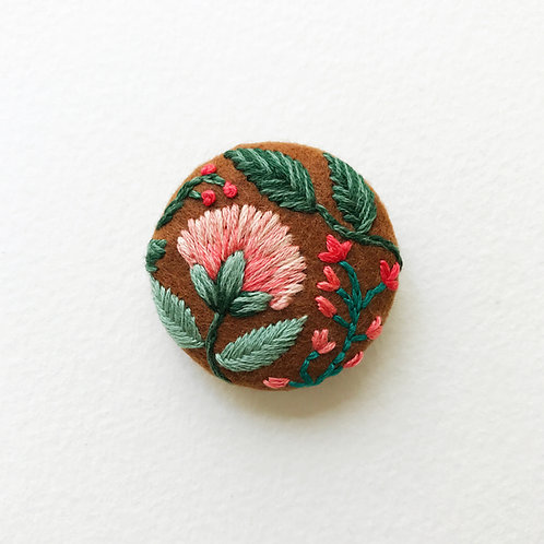 Floral button No 1 - Hand embroidered button