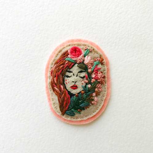 Botanical Girl Patch No1 - Hand embroidered patch