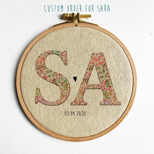 Custom Initials Embroidery for Sara