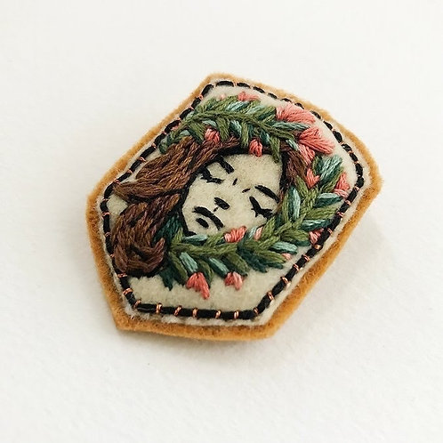 RESERVED for Melih - 4 botanical girl brooch