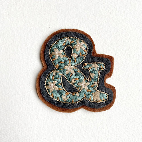 Brown floral ampersand hand embroidered patch