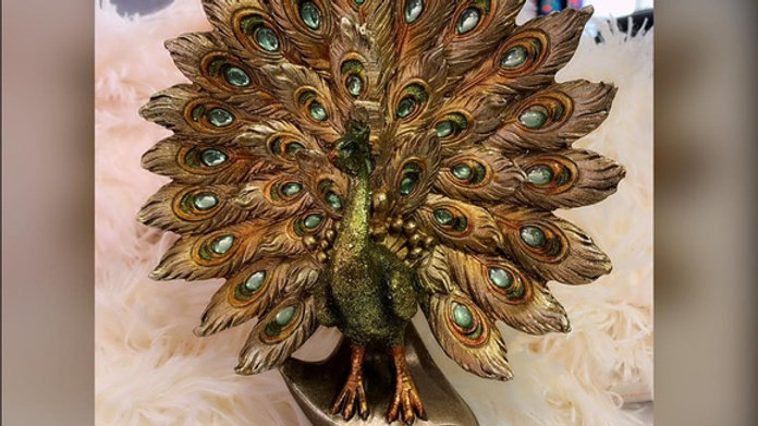 Polystone Peacock Fanned Feathers Sculpture