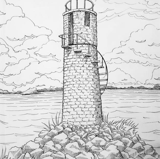 """""""Ballycurrin Irish Lighthouse"""" $150"""