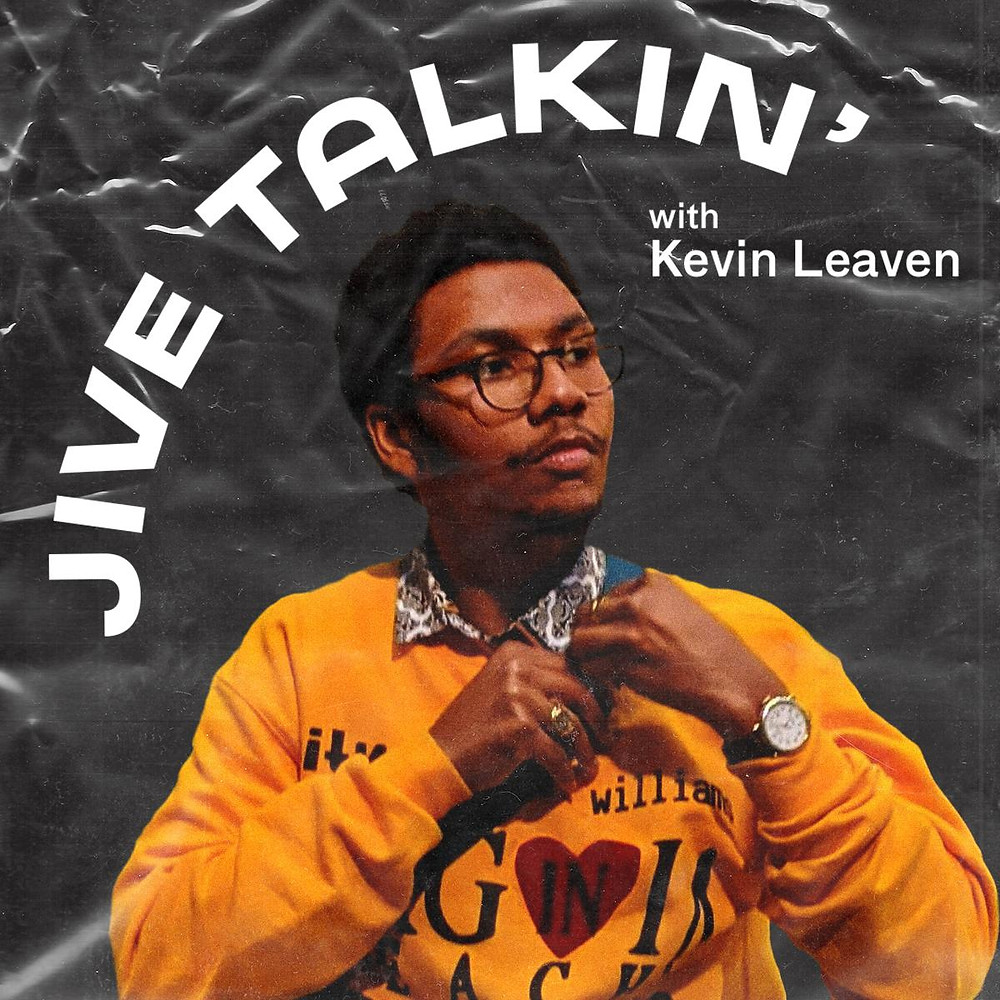 Jive Talkin' by Kevin Leaven cover- Kevin wearing a yellow sweatshirt and the text.