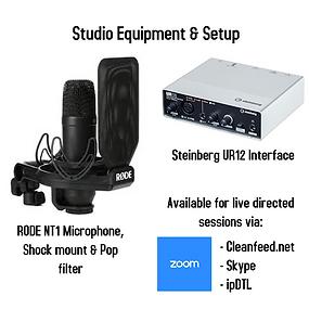 Studio equipment and setup info for webs