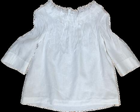 Raw Ruffle Top (White Linen)