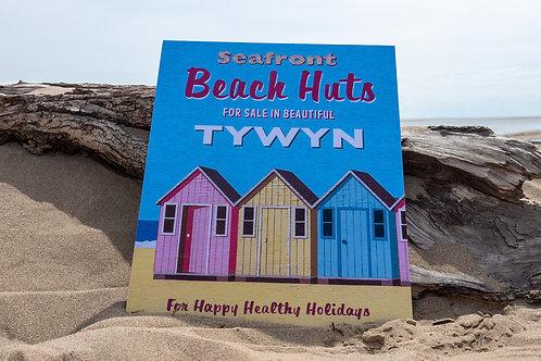 Beach Huts Tywyn Sign