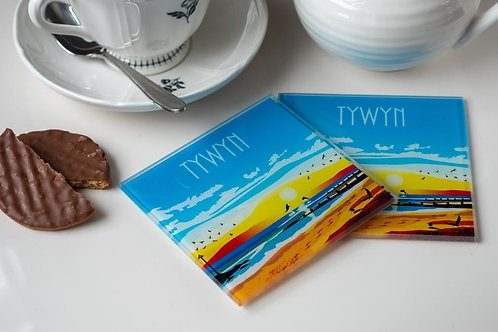 Tywyn Glass Drinks Coaster