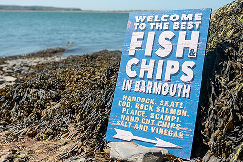 Fish & Chips In Barmouth Sign