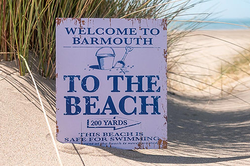 Barmouth To The Beach Sign