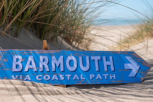 Barmouth Via Coastal Path Sign