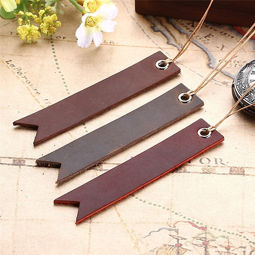 3pc Handmade Vintage Bookmarks: Genuine Leather