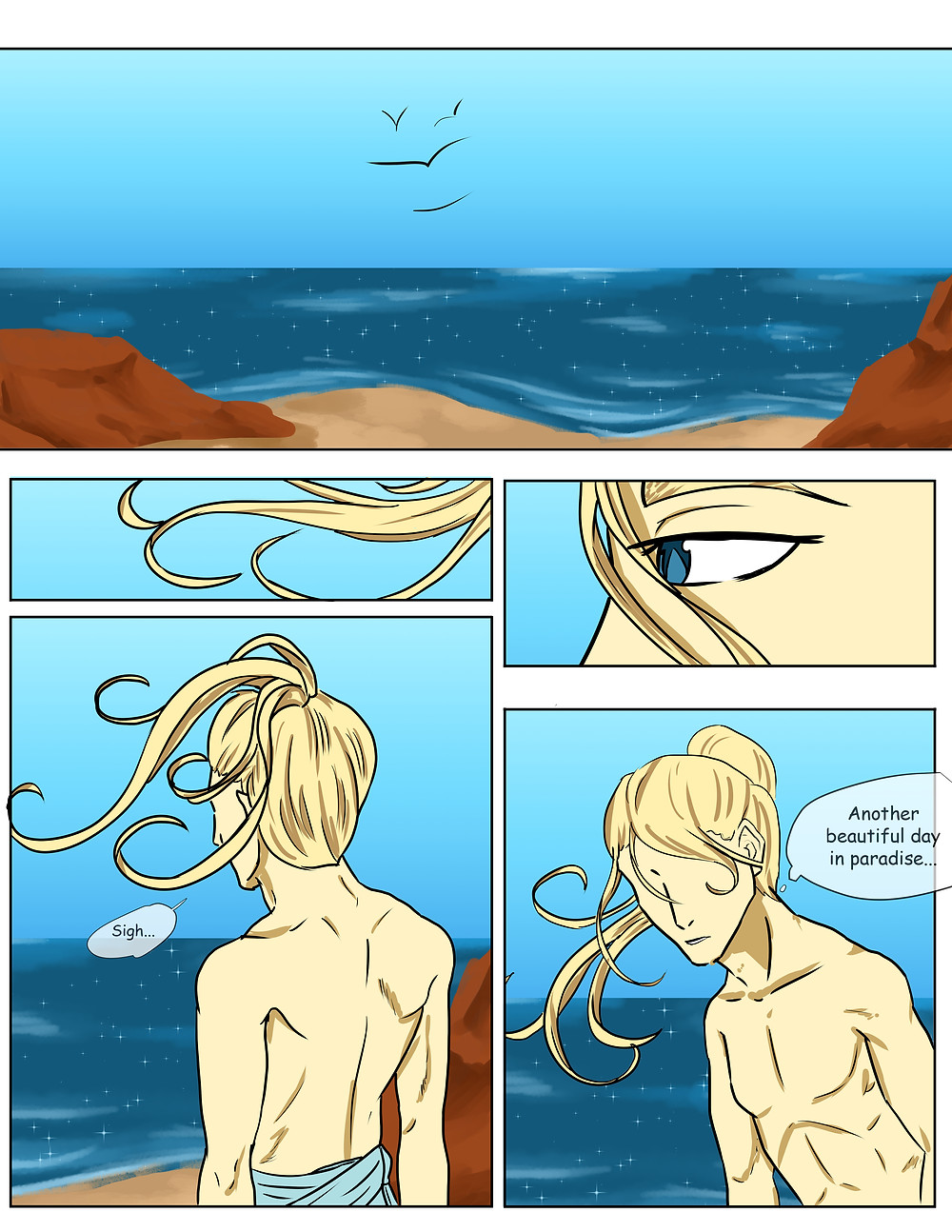 """An opening, full color page from The White Rose of Rome. Frames show a beach scene, with Venus standing on the shore. He sighs and says """"Another beautiful day in paradise..."""""""