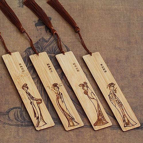 4pcs Wooden Bookmarks