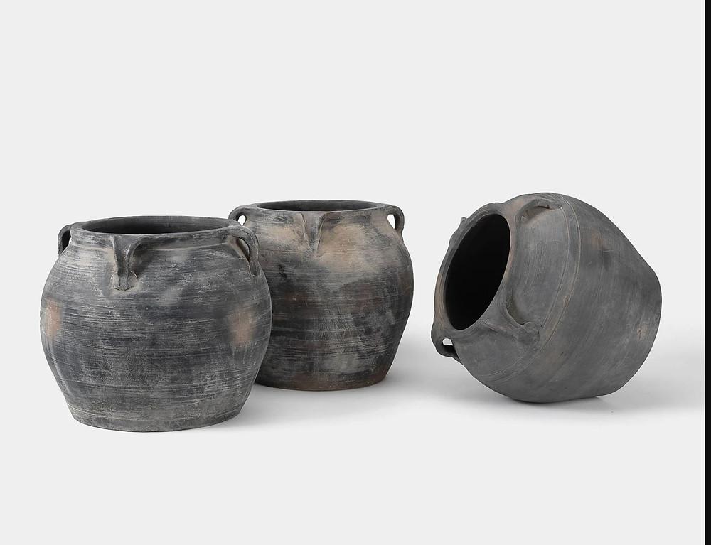 black charcoal antique terracotta urn pot jug