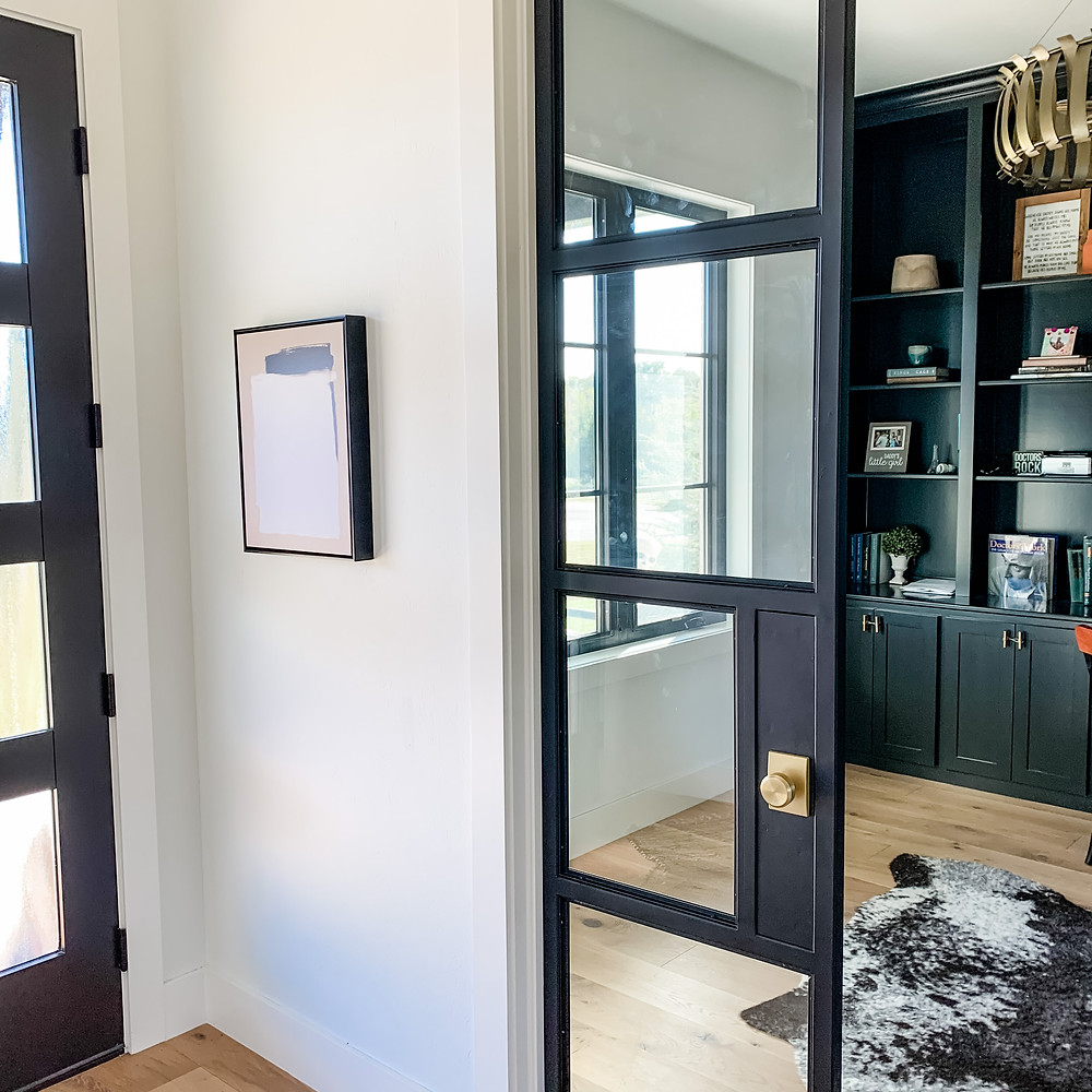 black metal and glass double doors home office entryway black doors sherwin williams tricorn black built-ins