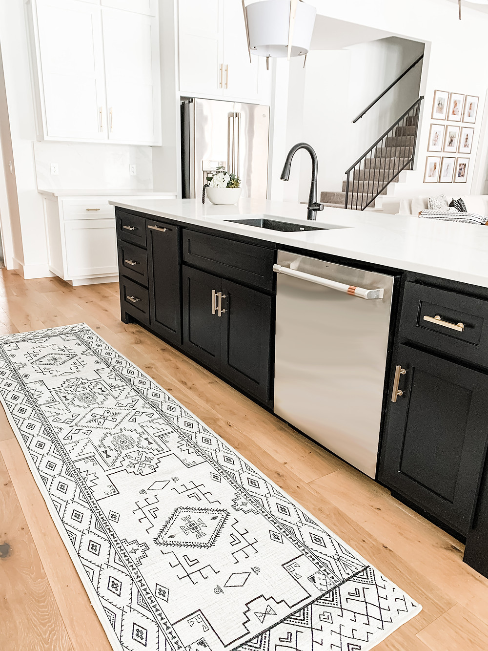 White and black Leelu Runner from Ruggable in Black and White Kitchen