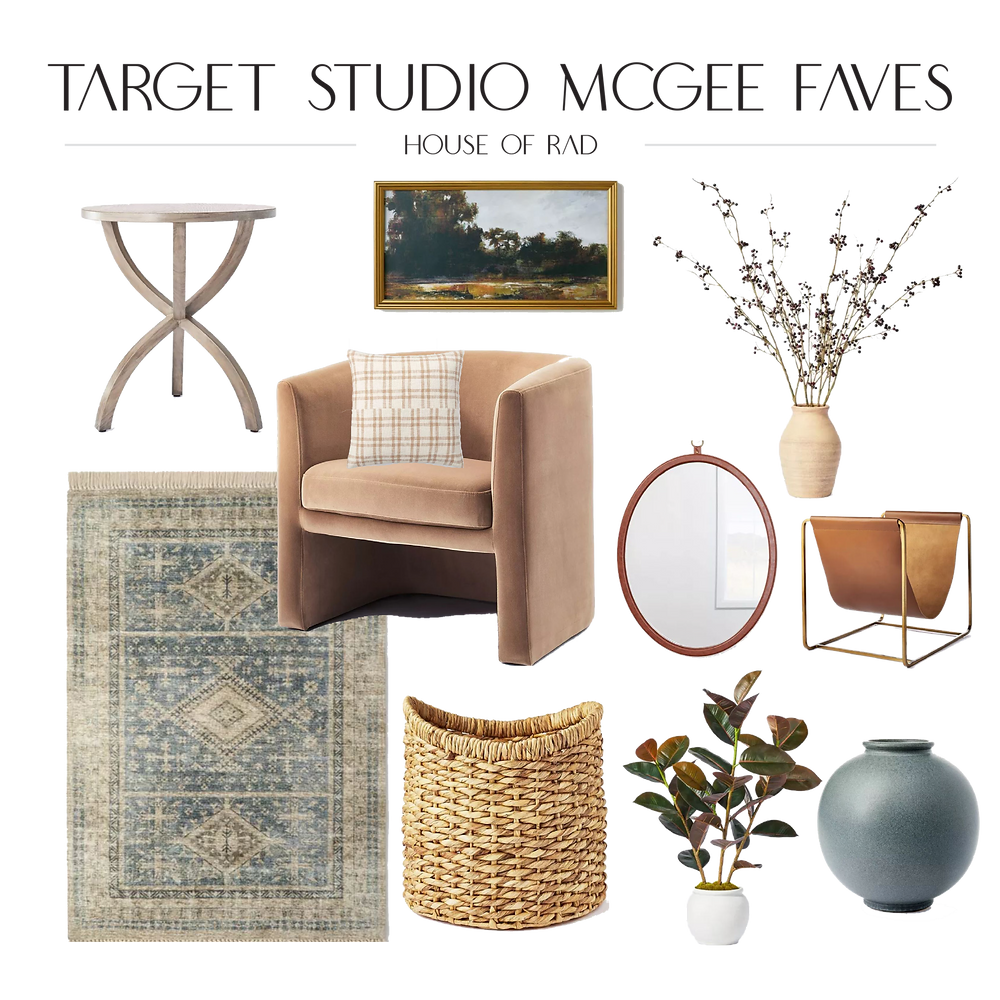 Studio Mcgee Threshold Target Fall 2021 barrel chair leather oval mirror side table blue accent rug wicker basker faux plant vintage style wall decor round vase
