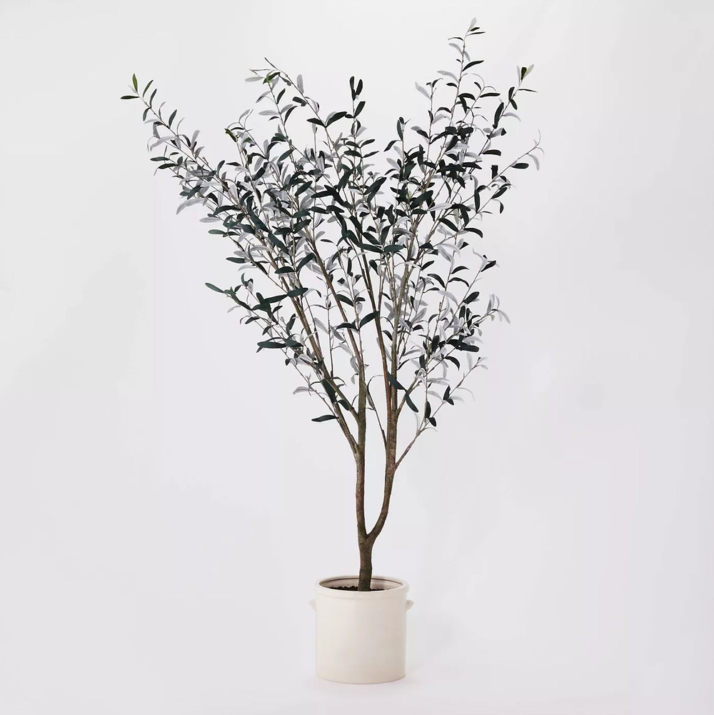 studio mcgee threshold target faux olive tree in white planter