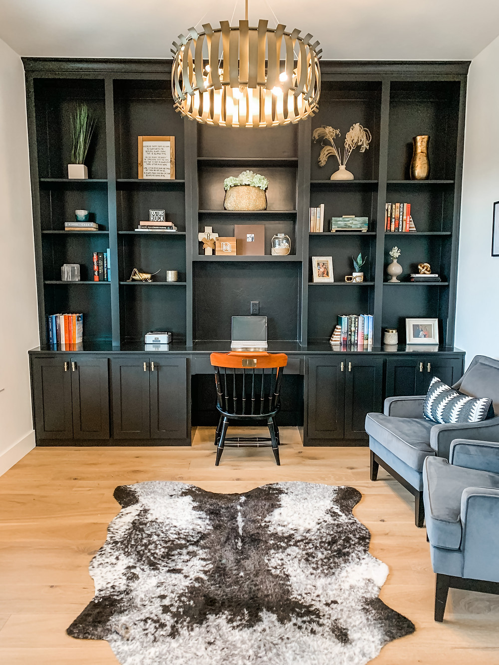 home office work from home sherwin williams tricorn black built ins