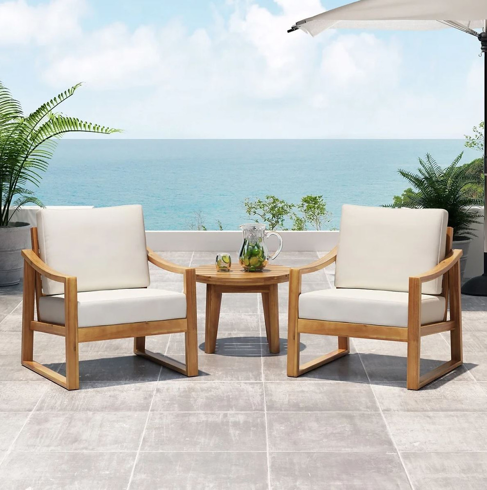 Samwell Outdoor Acacia Wood Club Chairs with Water Resistant Cushions (Set of 2) by Christopher Knight Home - Teak Finish + Beige Cushion