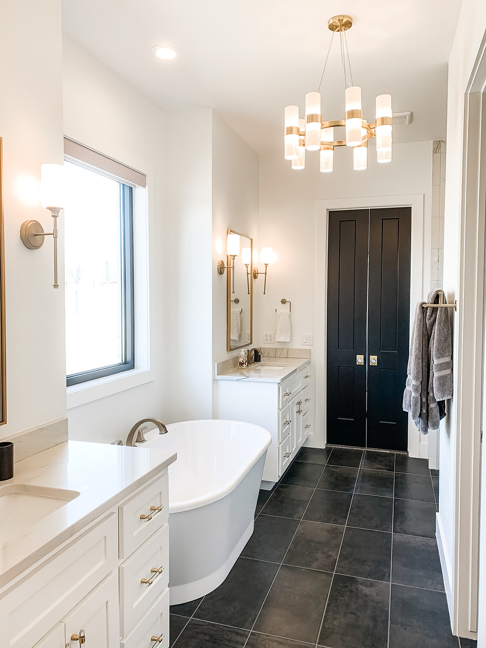 Glam Black and White Master Bathroom Gold Accents