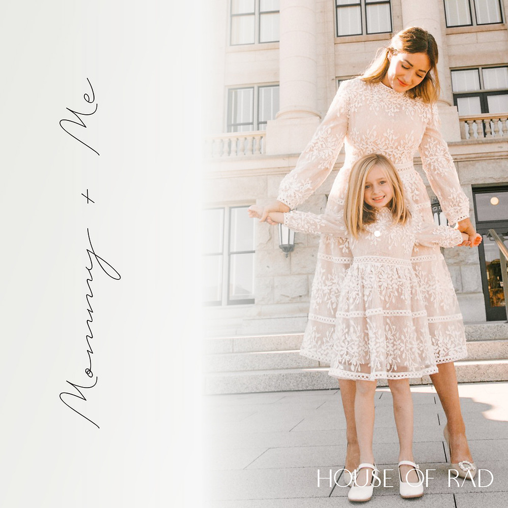 White lace special occasion Mommy and Me dress