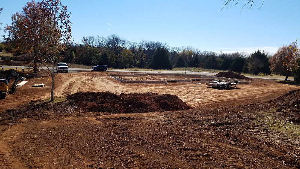 Board forms set for the foundation.
