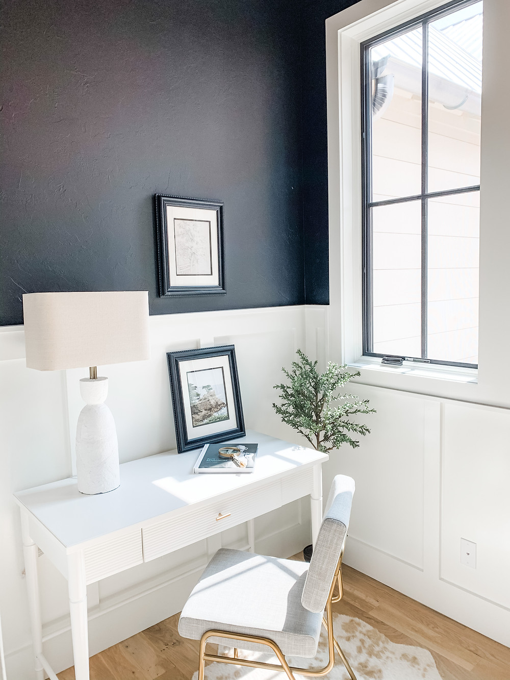 black and white office work from home space distance learning white desk black walls small home office