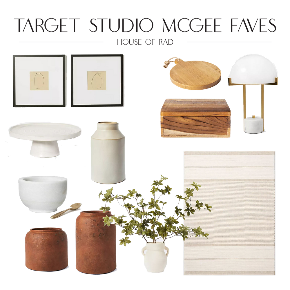 Target Studio McGee Threshold Fall 2021 cake stand marble pinch bowl teak wood box round wood board white milk glass lamp neutral area rug faux plant in ceramic vase black frame wall art