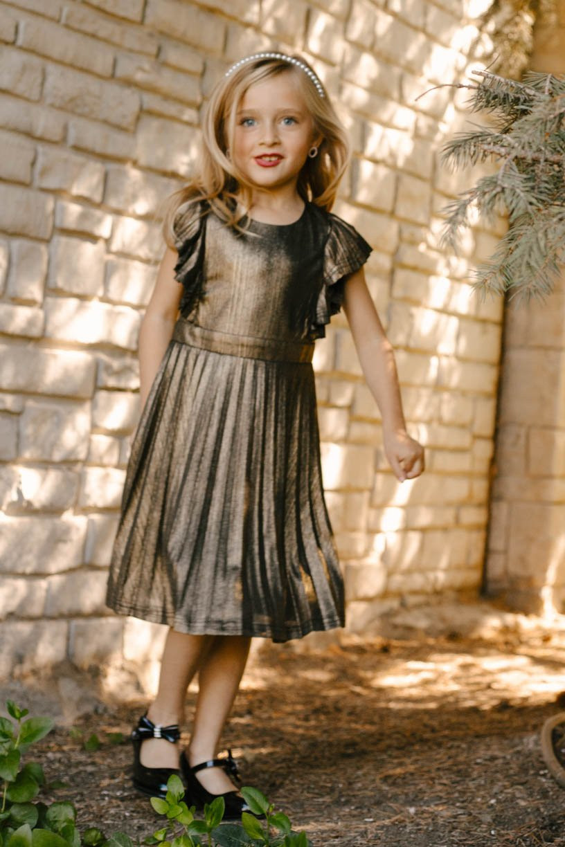 Gold simmer girls Christmas or Special Occasion Dress