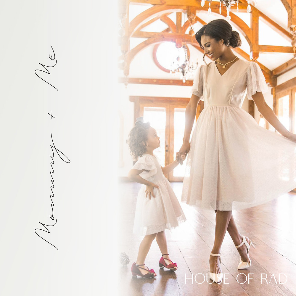 Mommy and Me Special Occasion, Wedding and Christmas Dress in White or Ivory with lace Sleeves
