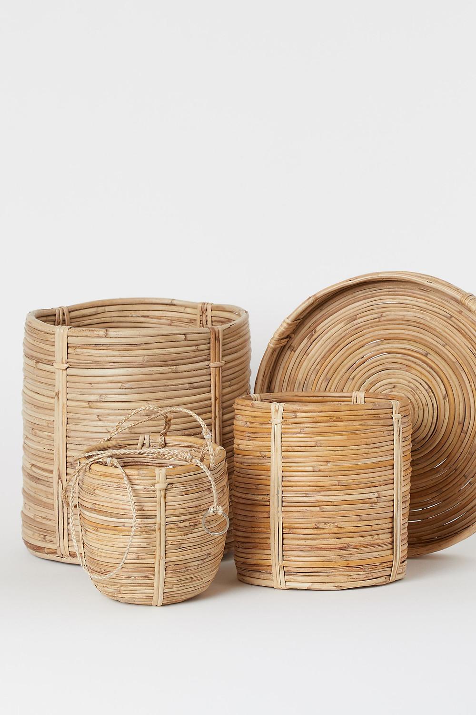 h&m braided rattan plant pot baskets