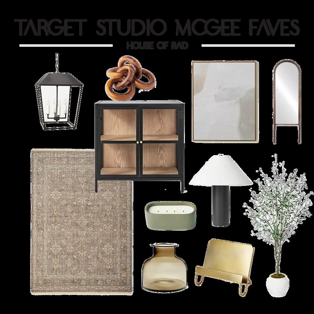 Target Studio McGee Threshold Fall 2021 Teak Wood Chain Link Black Glass Cabinet Faux Olive Tree Standing Mirror Black Lantern Pendant