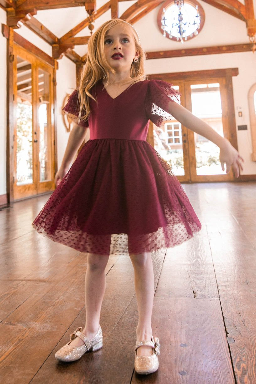 Girls Christmas Dress and Special Occasion Dress in Red Lace