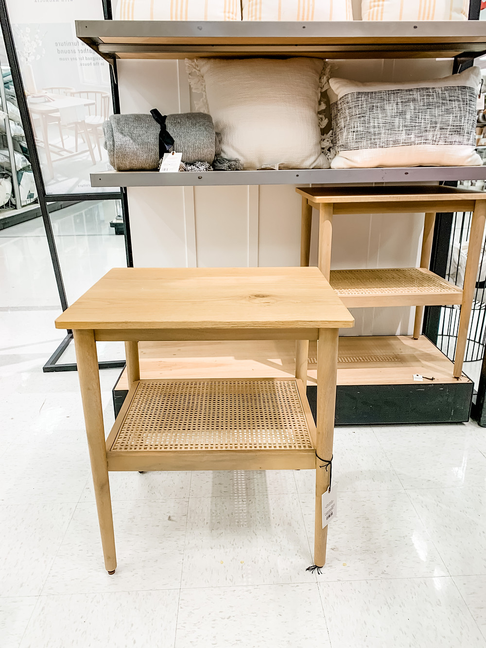 light wood and cane end table from target