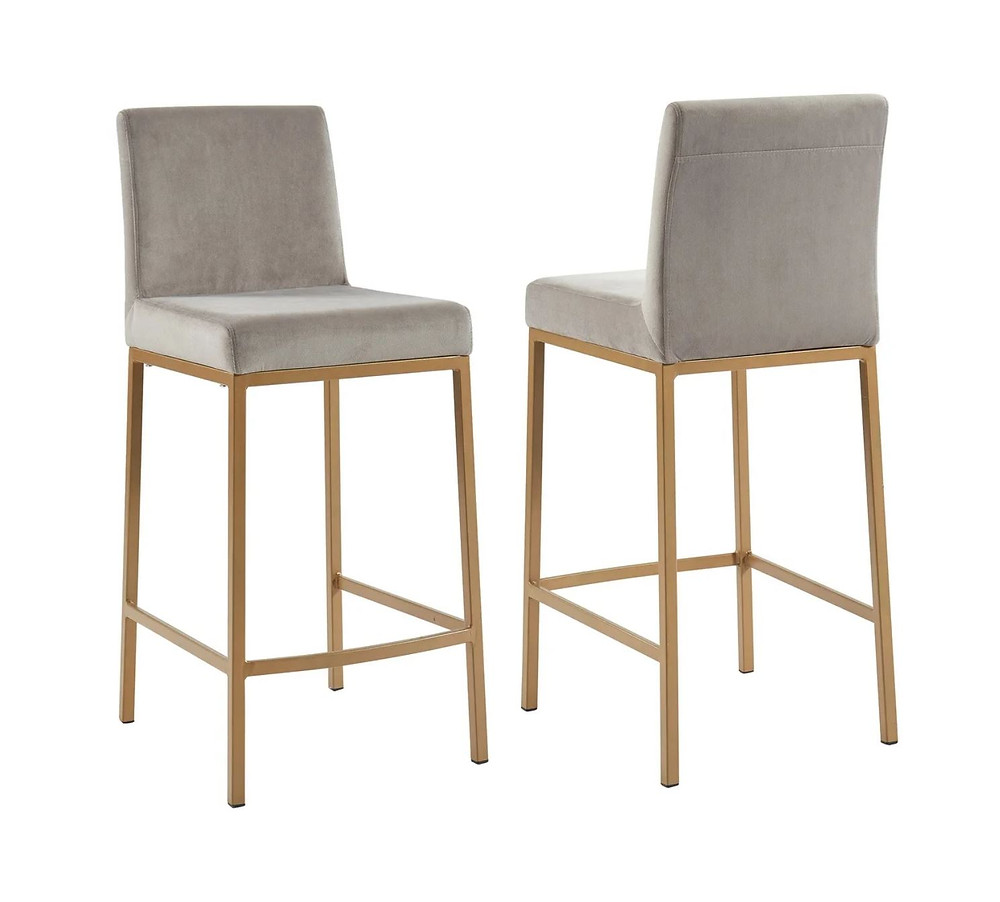 Gray Velvet and Gold Counter Stools (Set of 2)