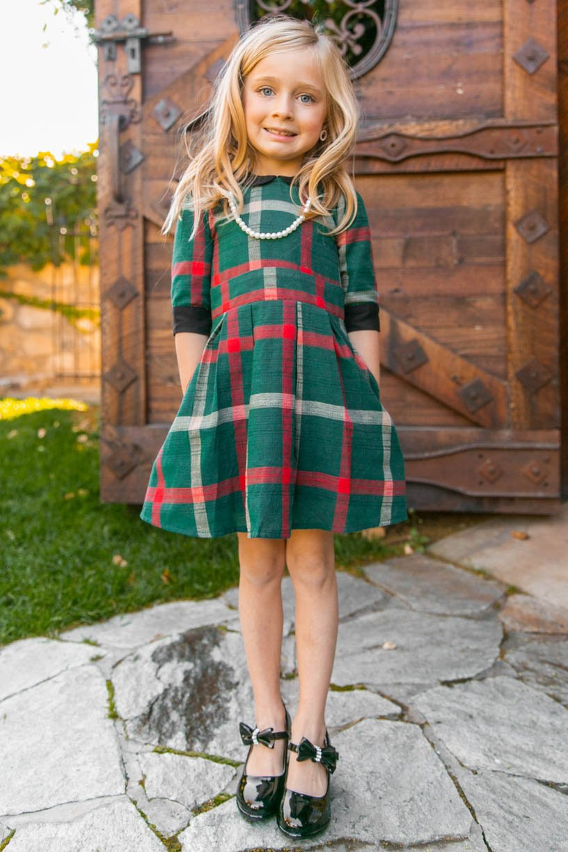 Girls Christmas Dress in Green Plaid with Black Collar